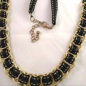 Black and Gold Tone Fabric Necklace 26 Inches
